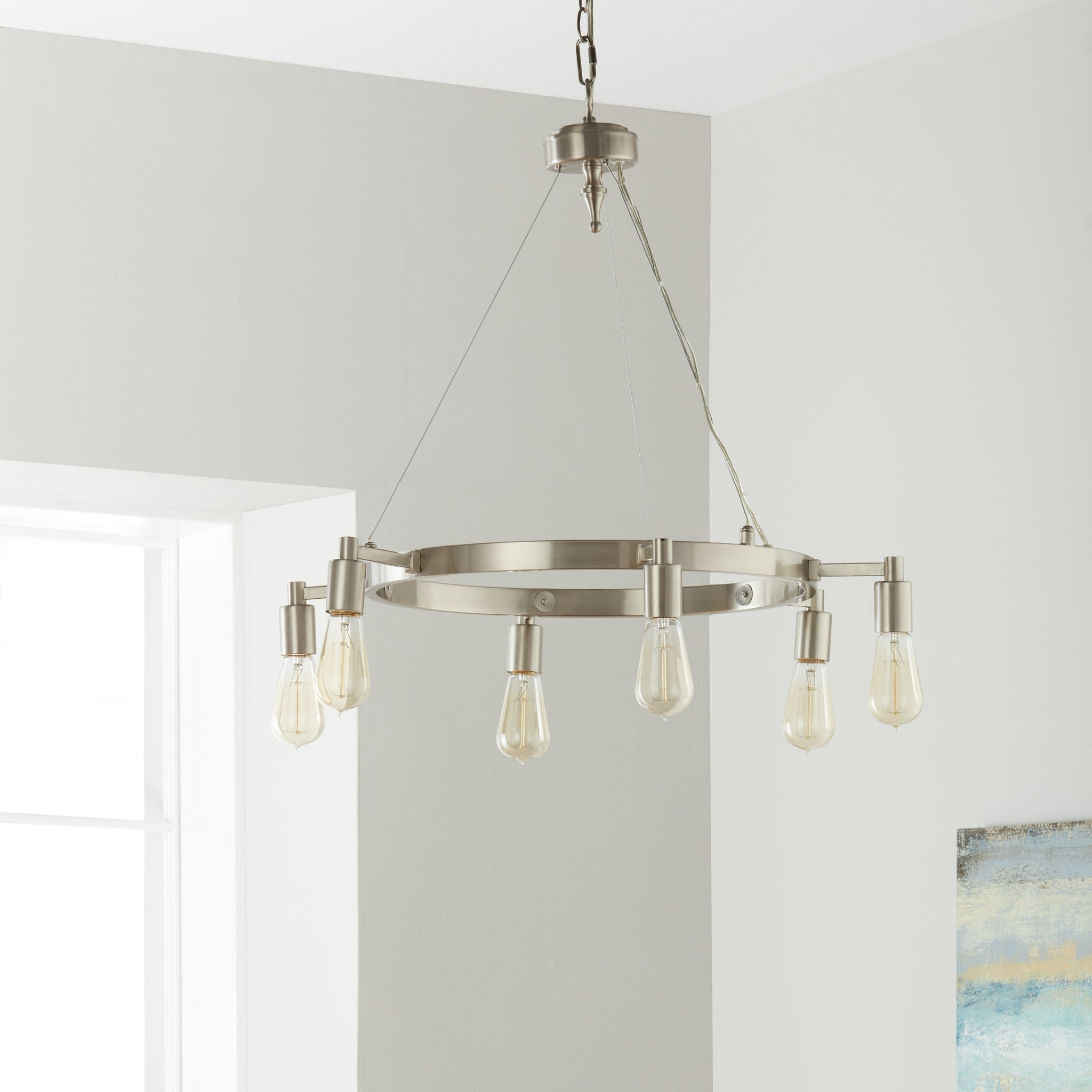Brown Nickel Six-Light Chandelier
