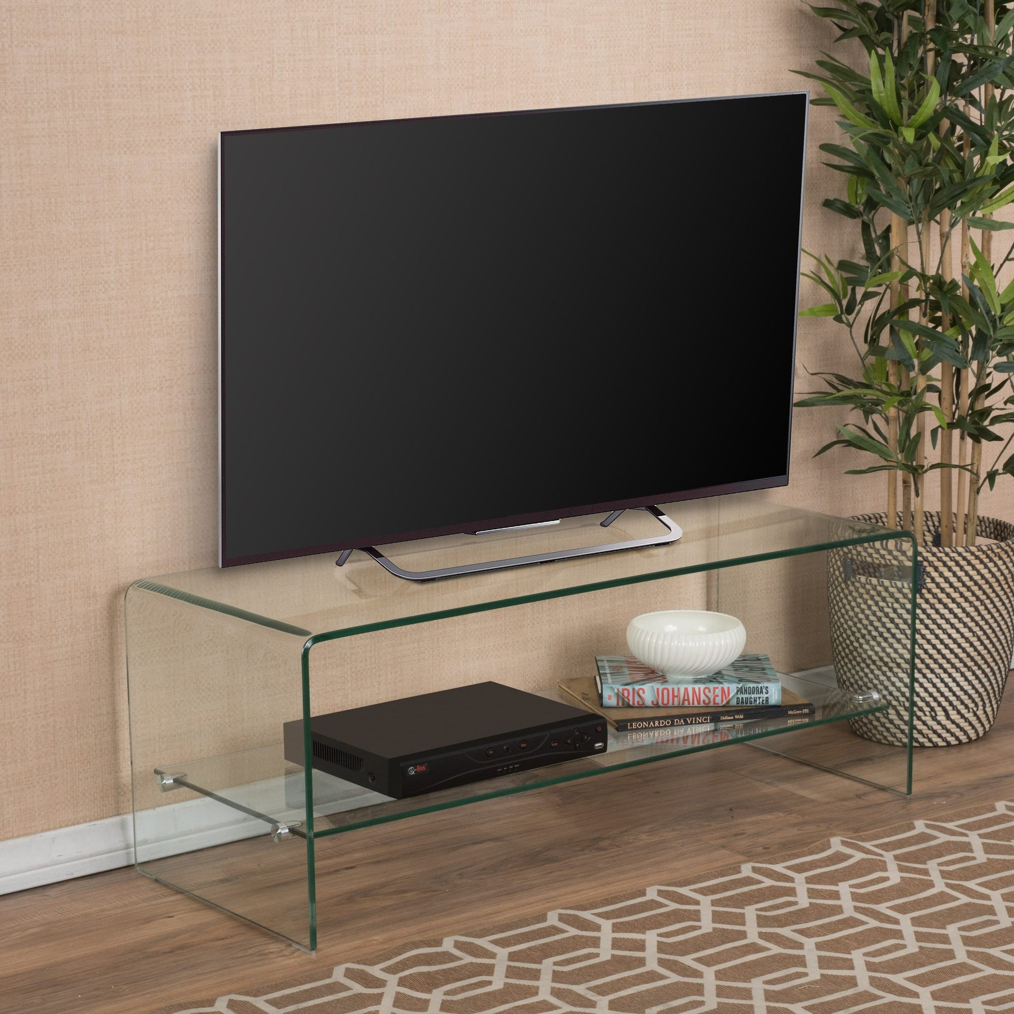 Glass Entertainment TV Console Stand with Shelf