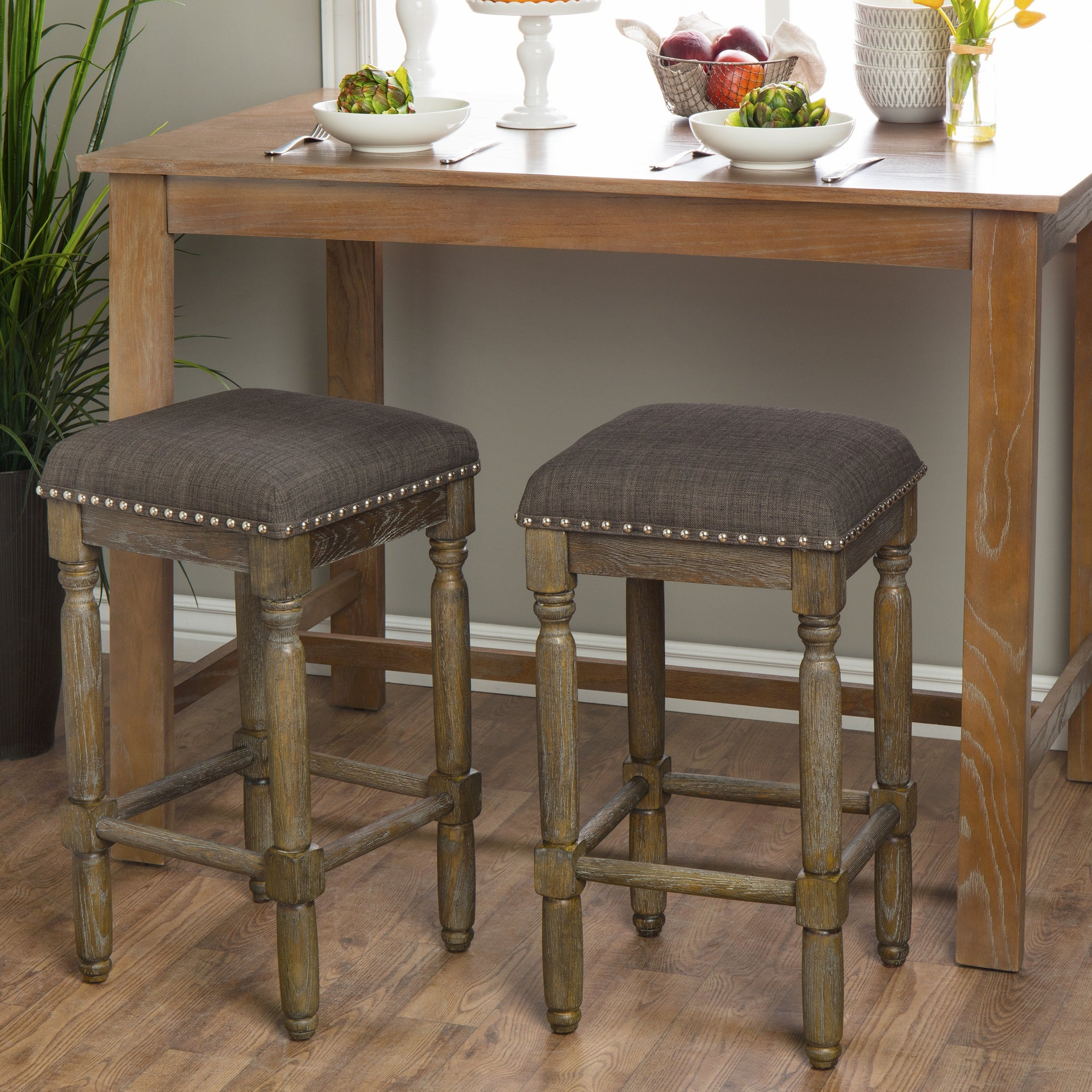 Brown and Grey Counter Stools (Set of 2)