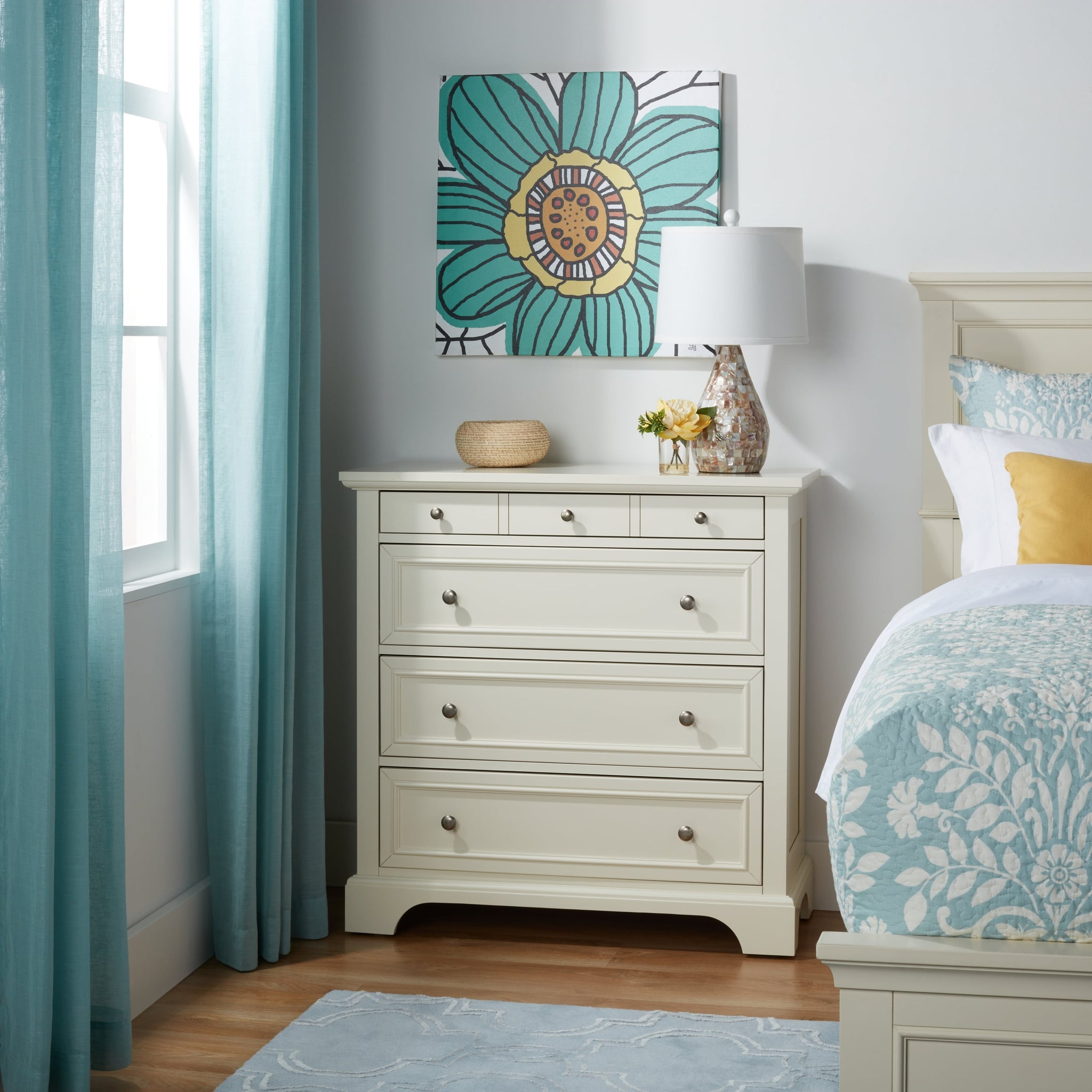 White Wooden Four-drawer Storage Chest