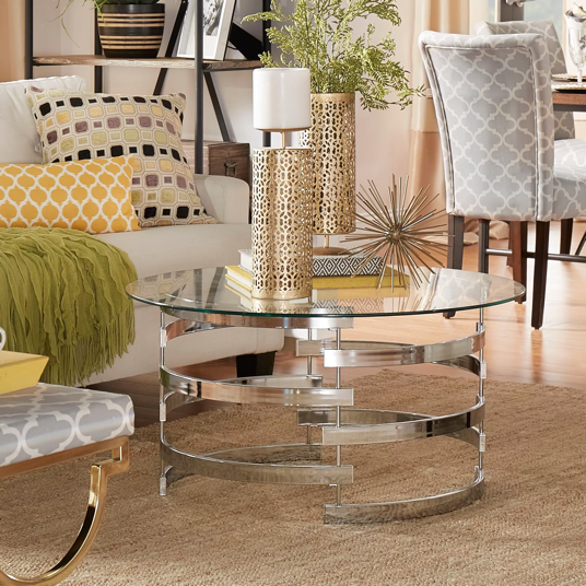 Round Glass Top Vortex Iron Base Accent Table