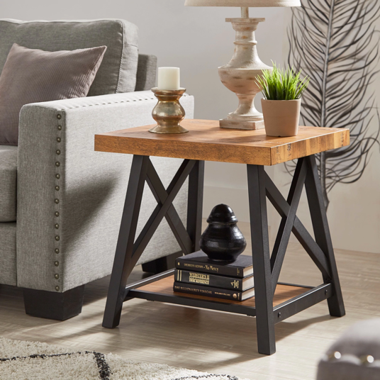 Rustic X-Base End Table with Shelf