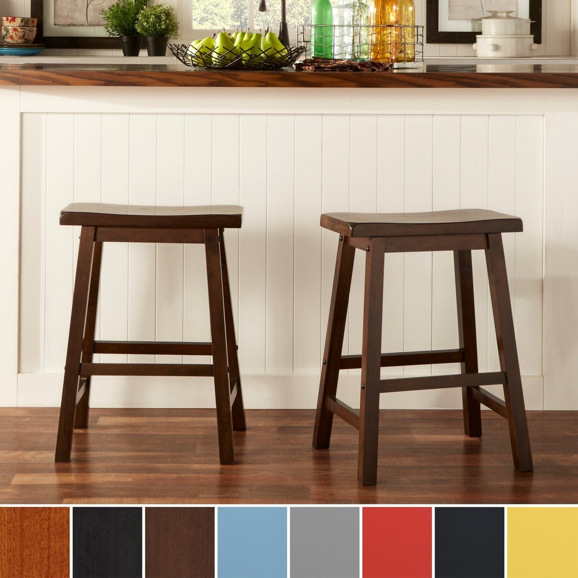 Saddle Back 24-inch Counter Height Backless Stool (Set of 2)