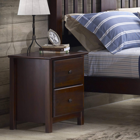 Shaker Two-drawer Cherry Solid Wood Nightstand