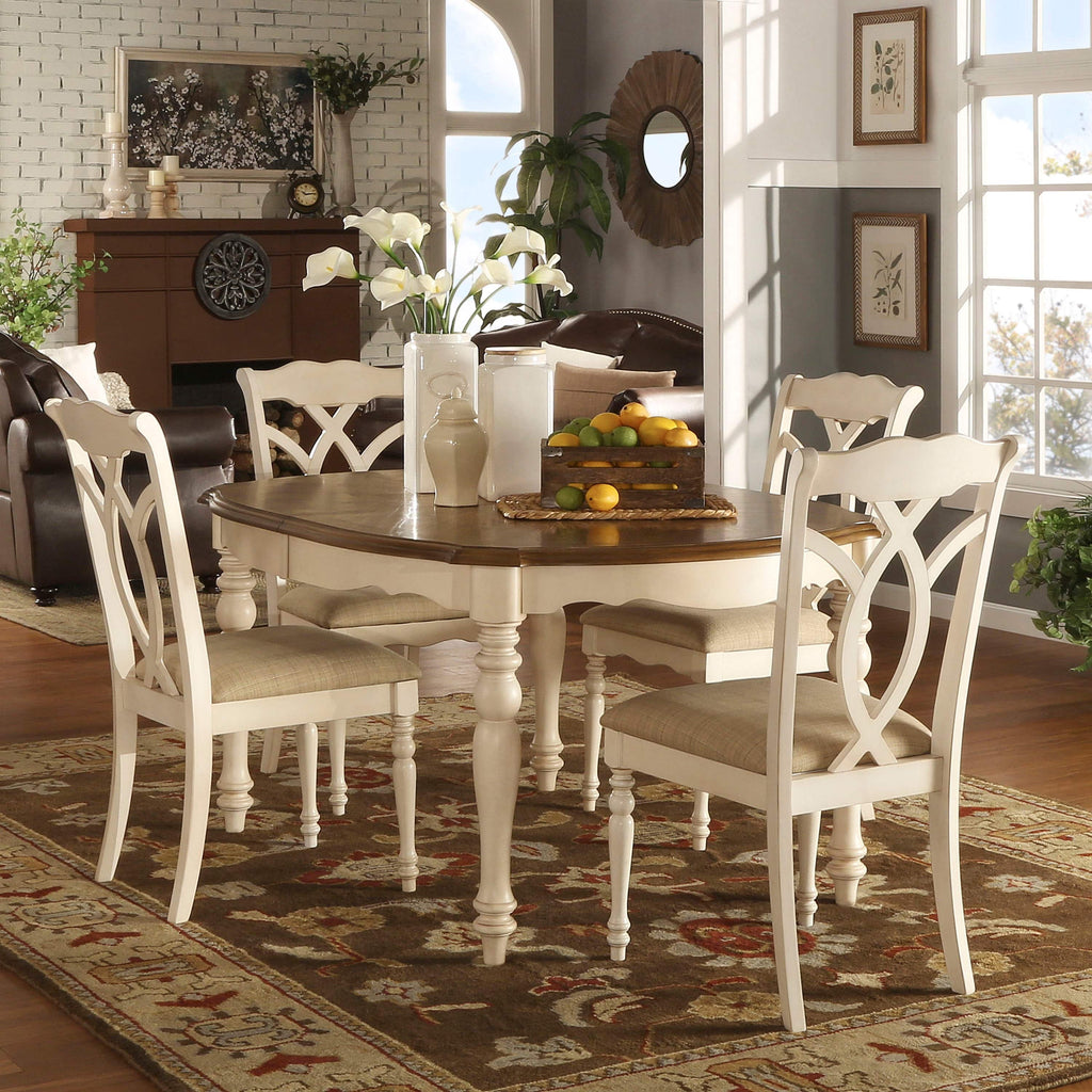 Antique Two-Tone White Extending Dining Set