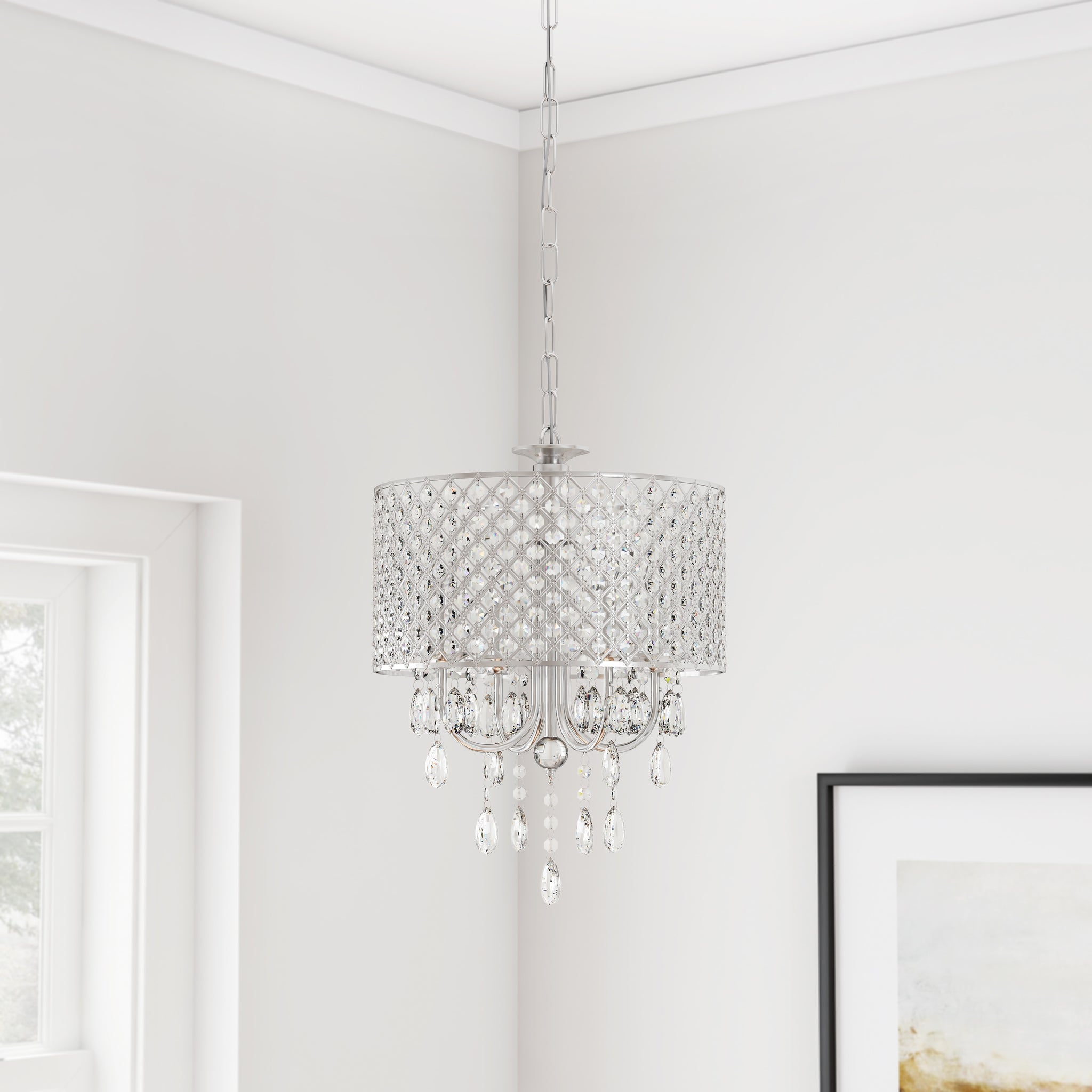 Chrome Finish Four-Light Round Chandelier