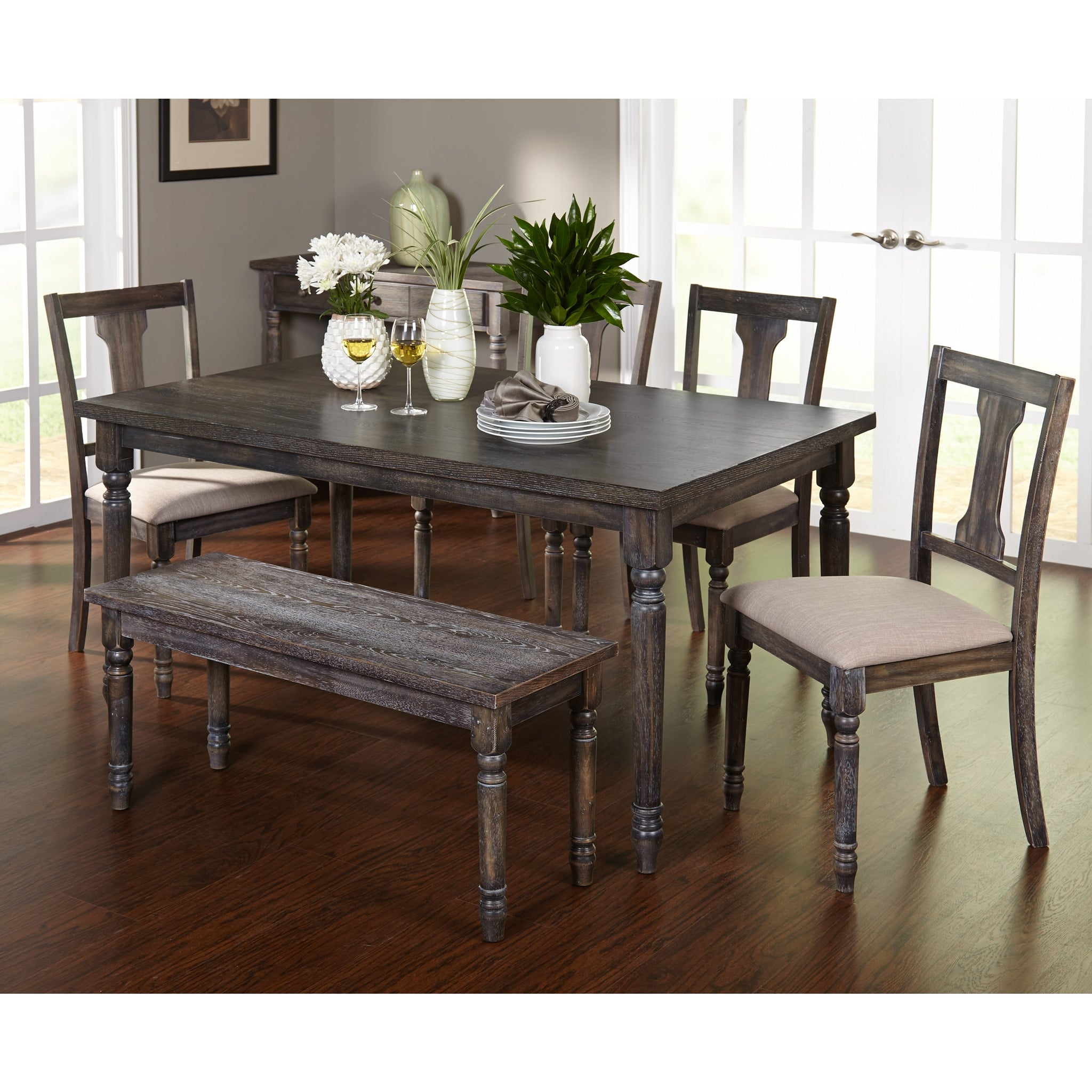Six-Piece Burntwood Dining Set with Dining Bench