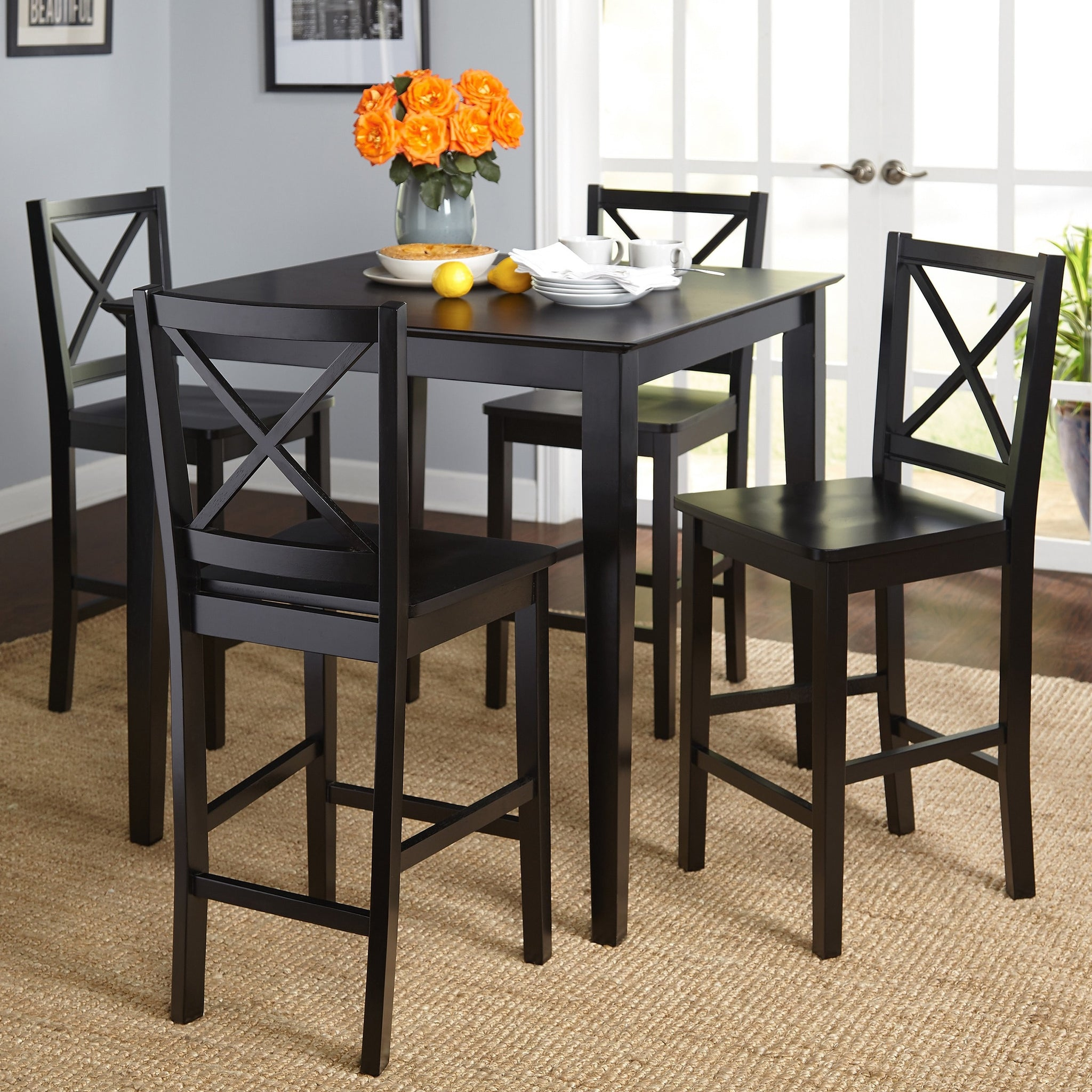 Cross Back Counter Height Five-Piece Table and Chair Set