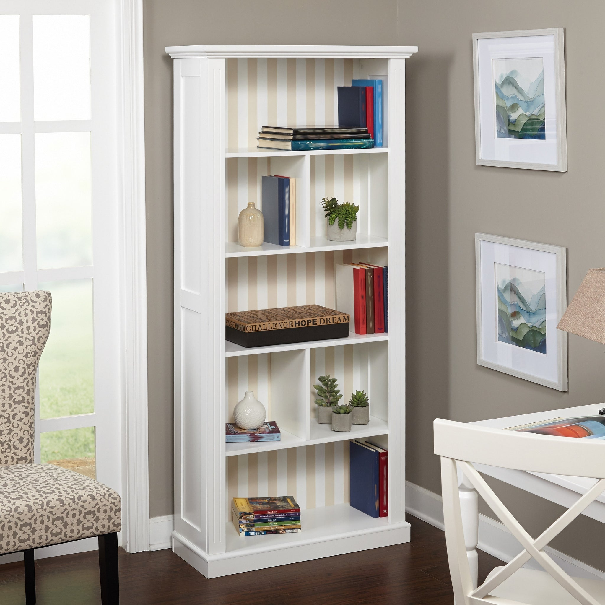 Reversible Grey/ Stripe Panel Bookcase