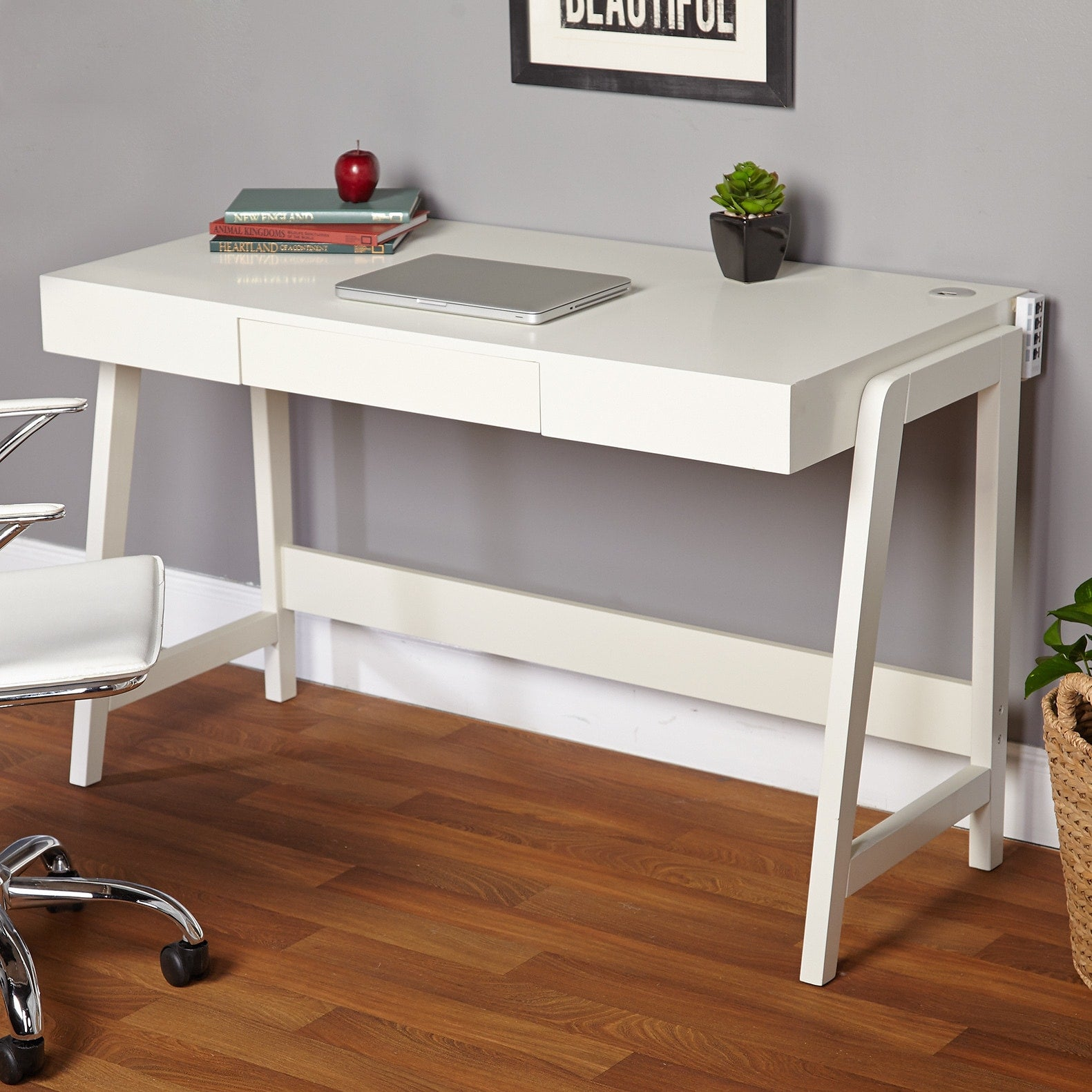 Modernist Rectangular Tech Integrated Desk