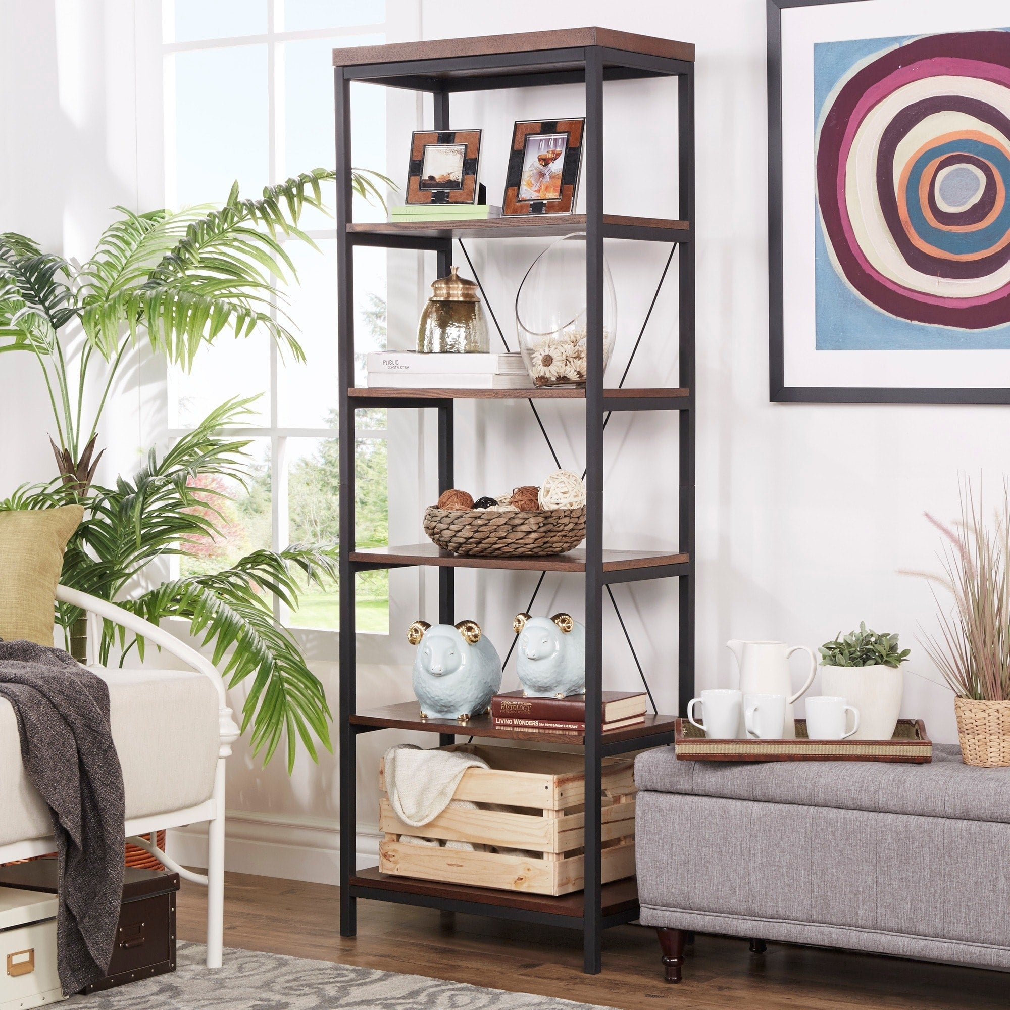 Metal Frame Six Tier Bookshelf Media Tower