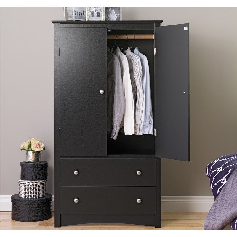 Black Finish Wood Armoire