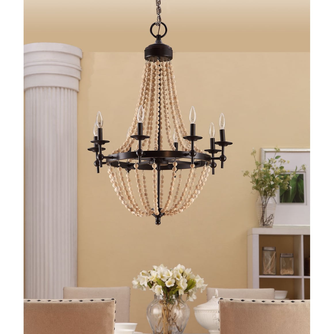 Natural Beaded Brown Eight-Light Chandelier