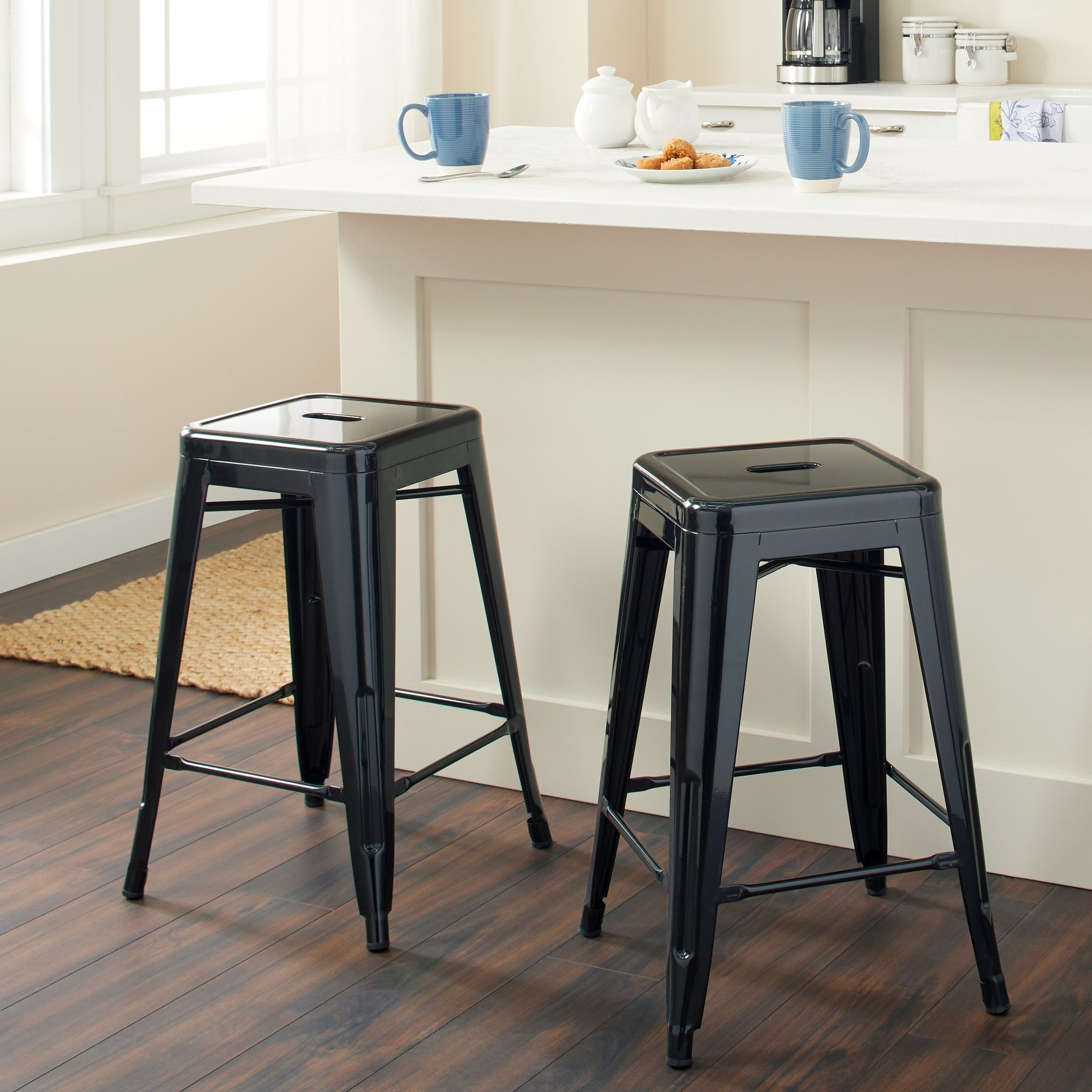 24-inch Black Metal Counter Stools (Set of 2)