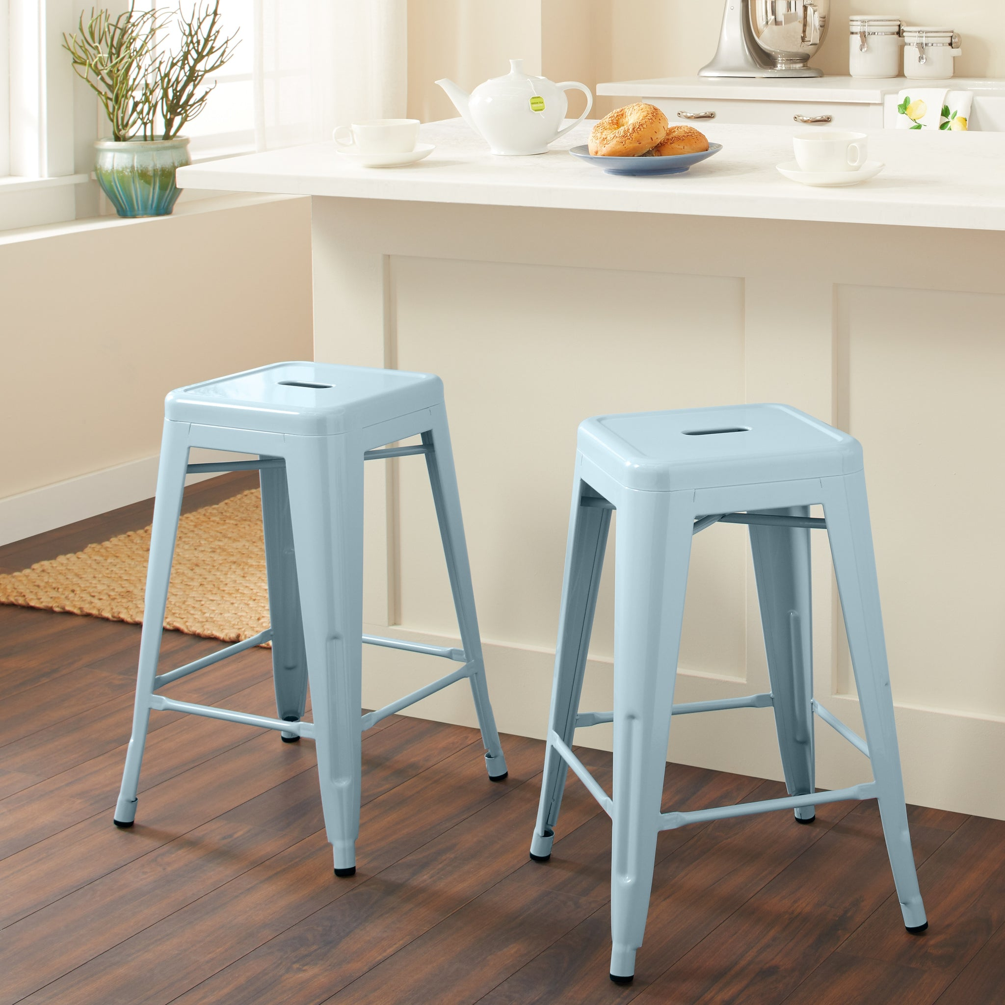 24-inch Blue Counter Stool (Set of 2)