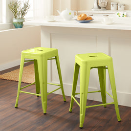 24 Inch Black Metal Counter Stools Set Of 2 Handy