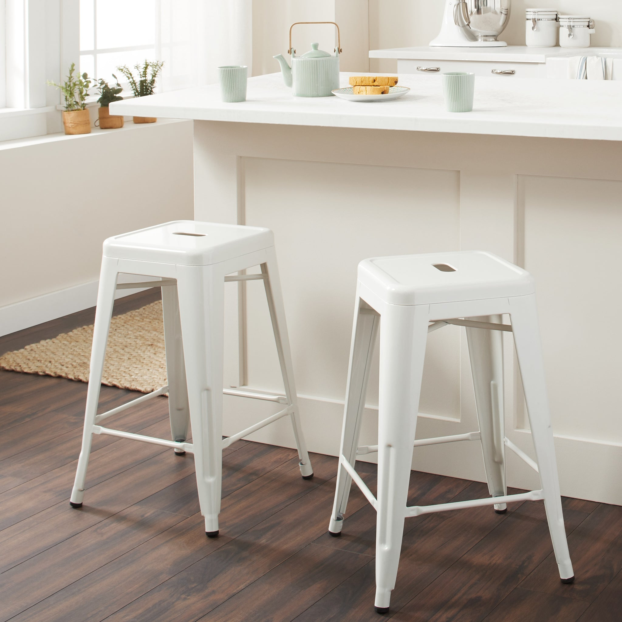 24 Inch White Metal Counter Stools Set Of 2 Handy