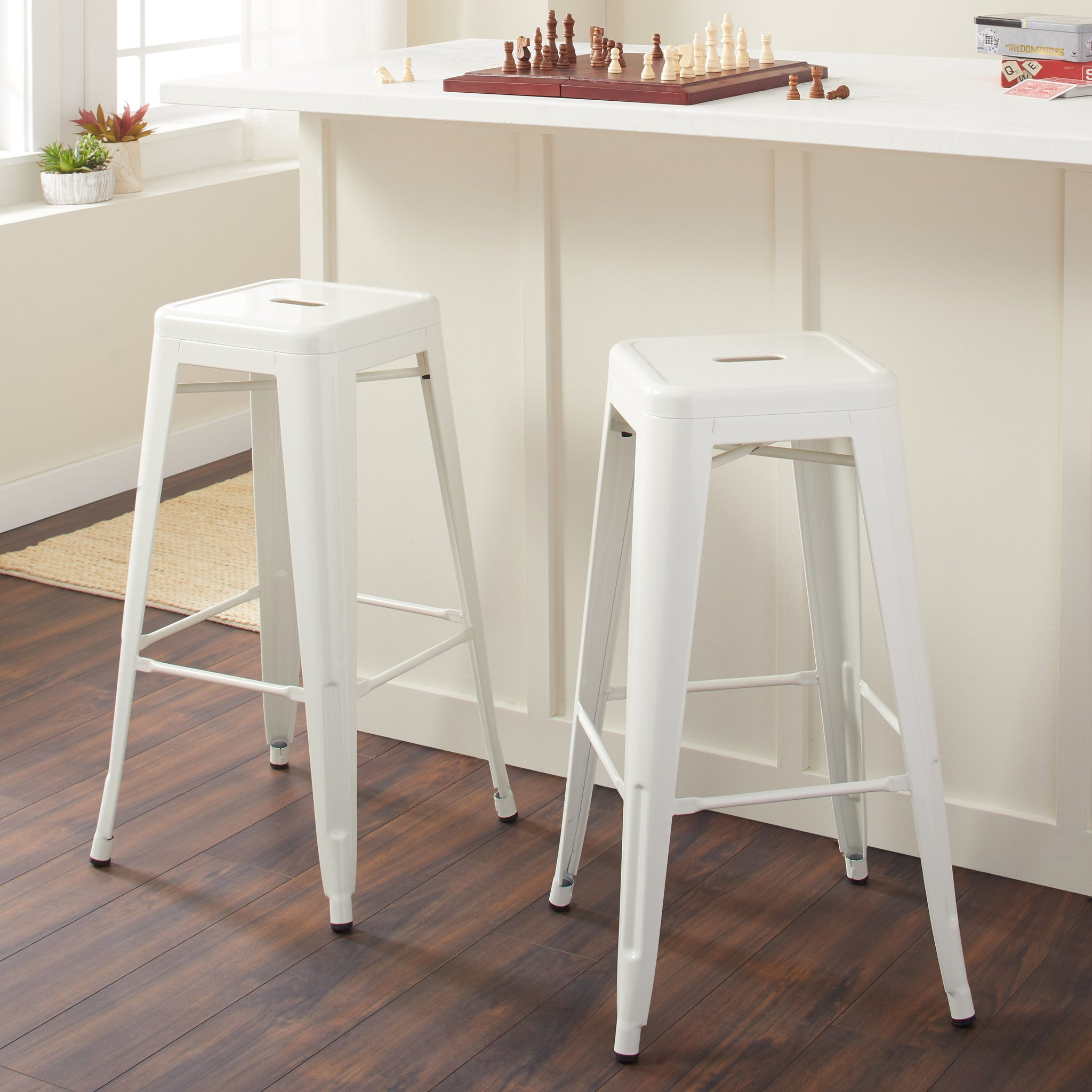 30-inch White Bar Stools (Set of 2)