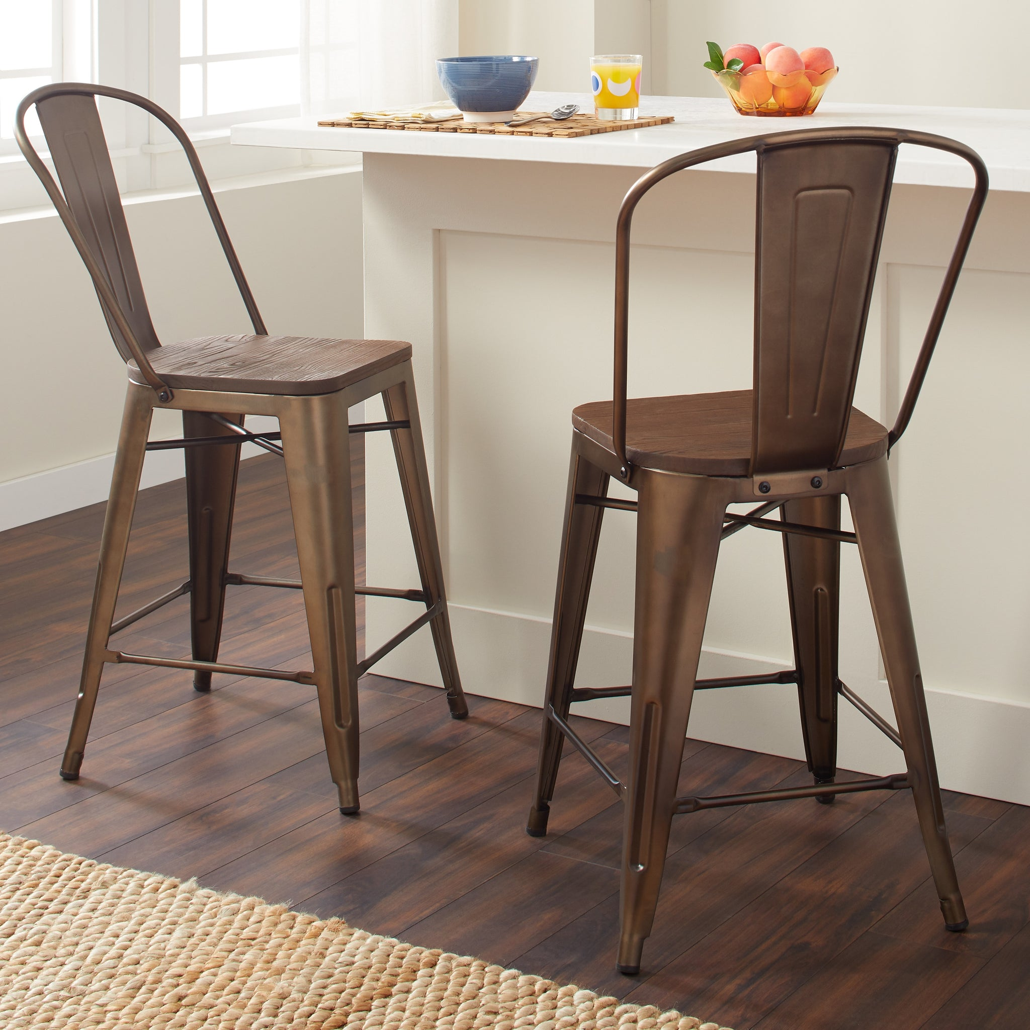 Vintage Steel Bistro Counter Stools (Set of 2)