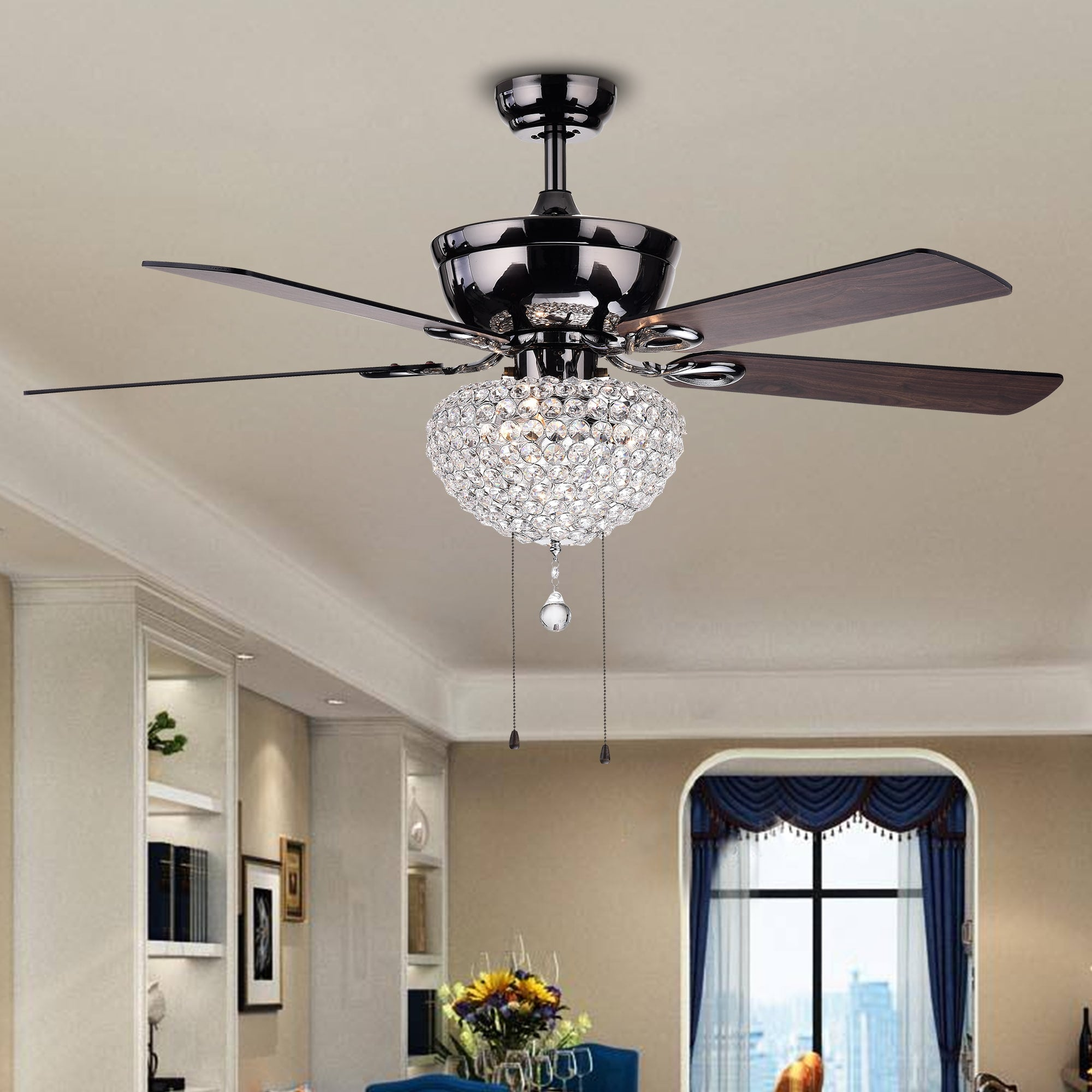Three-Light Crystal Basket Five-Blade Wood with Black Metal Housing 52-Inch Ceiling Fan