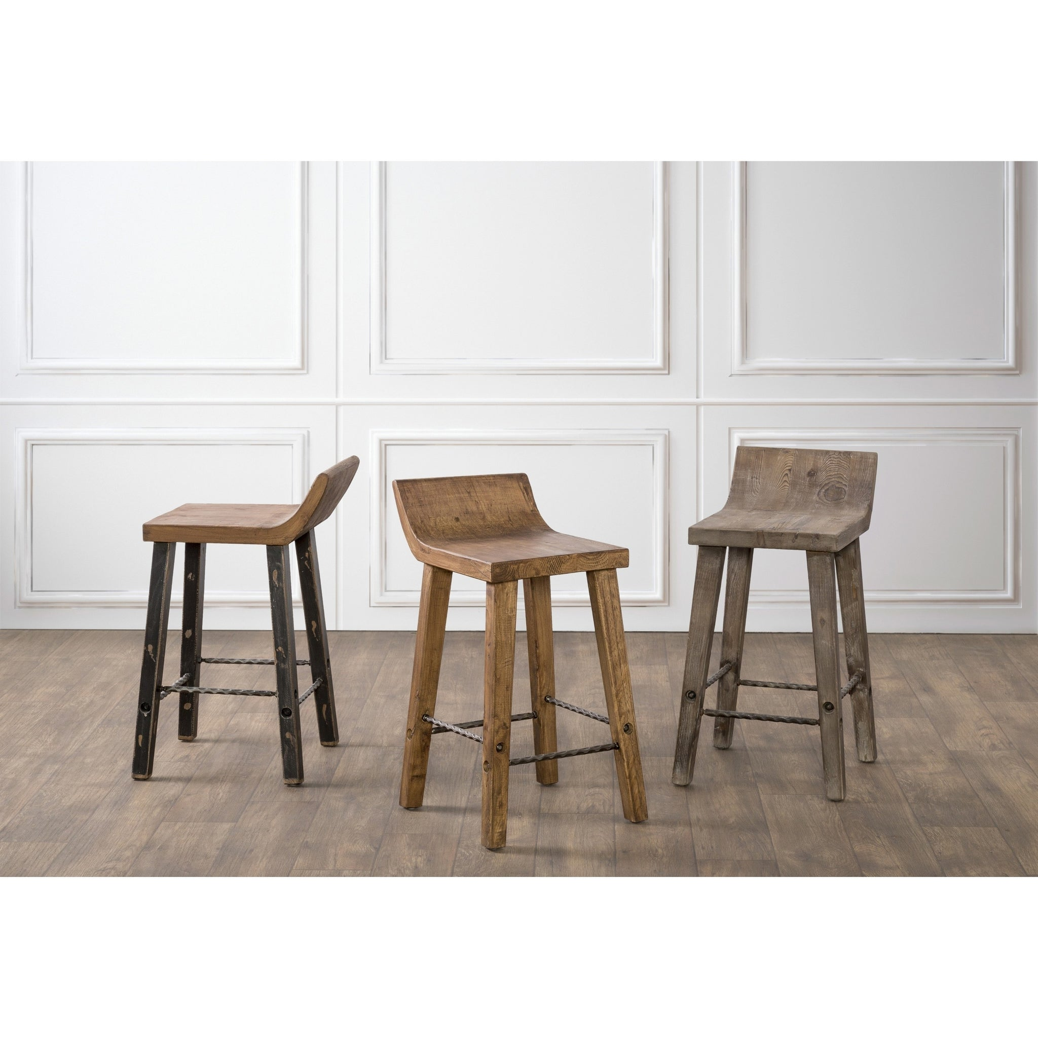Natural Low-back Wood Counter Stool