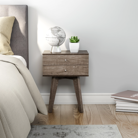 Two-drawer Light Charcoal Nightstand