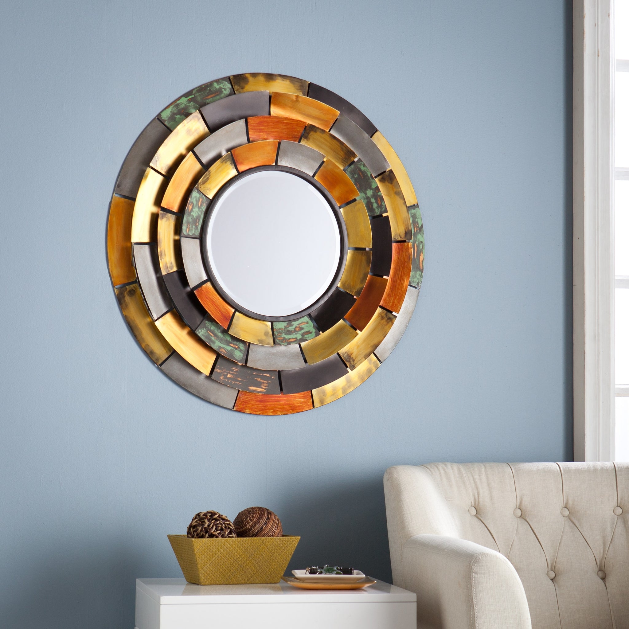 Decorative Wall Mirror with Tiered Edges