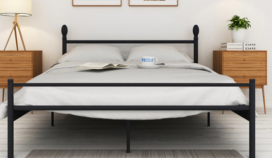 Platform Bed Frame, Box Spring Replacement with Headboard