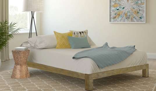 Gold Metal Slatted Platform Bed