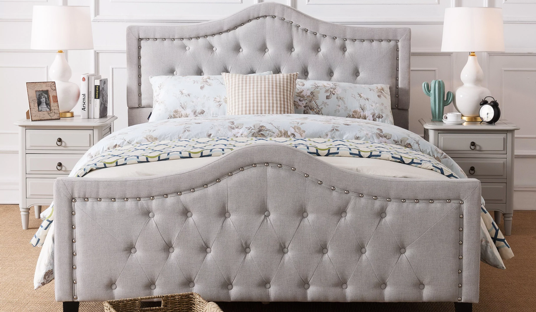 Upholstered Tufted Fabric Queen Bed Set