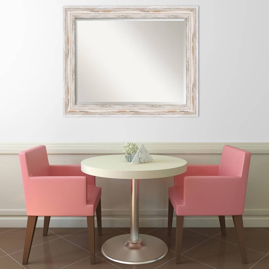 Large White Wash Wall Mirror