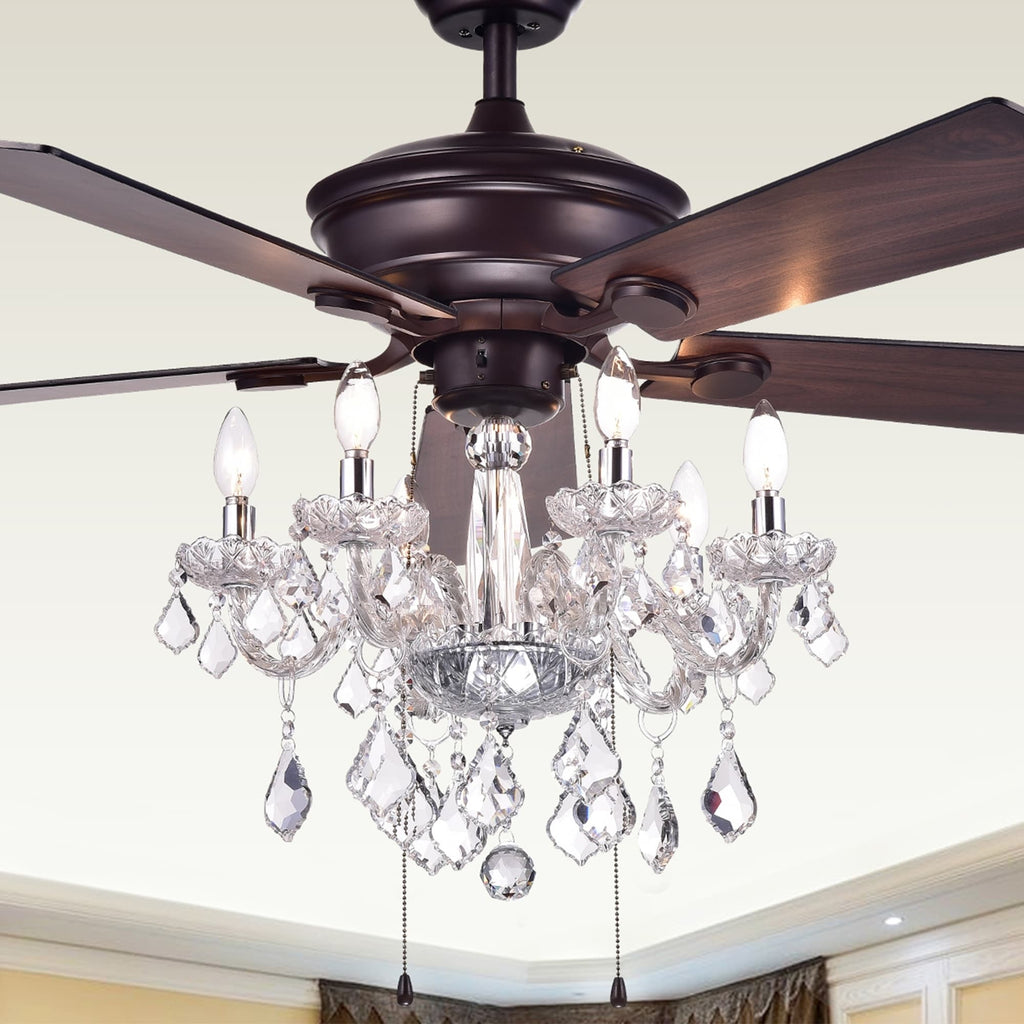 52 Inch 5 Blade Ceiling Fan With Crystal Chandelier