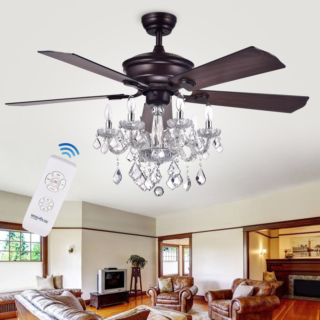 52-Inch 5-Blade Ceiling Fan with Crystal Chandelier