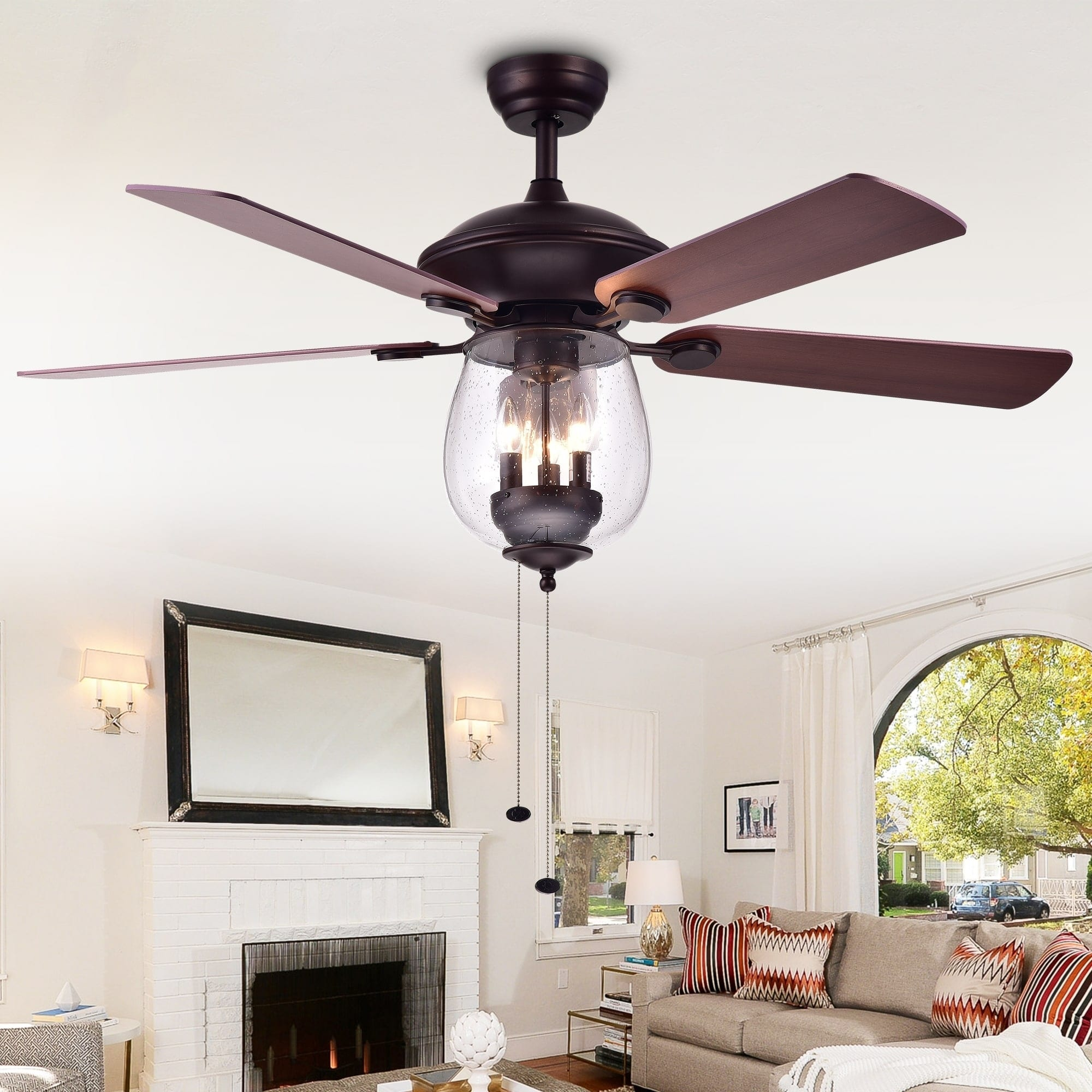 Wood and Glass 52-Inch Five-Blade Lighted Ceiling Fan