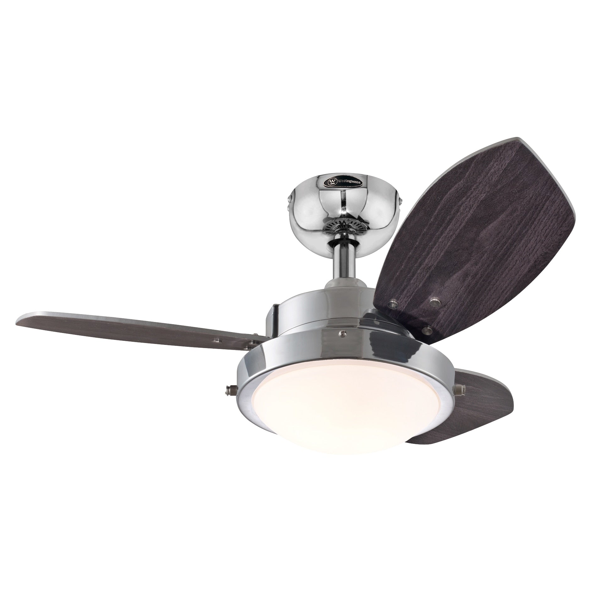 30-Inch Chrome Three Blade Reversible Ceiling Fan With Light