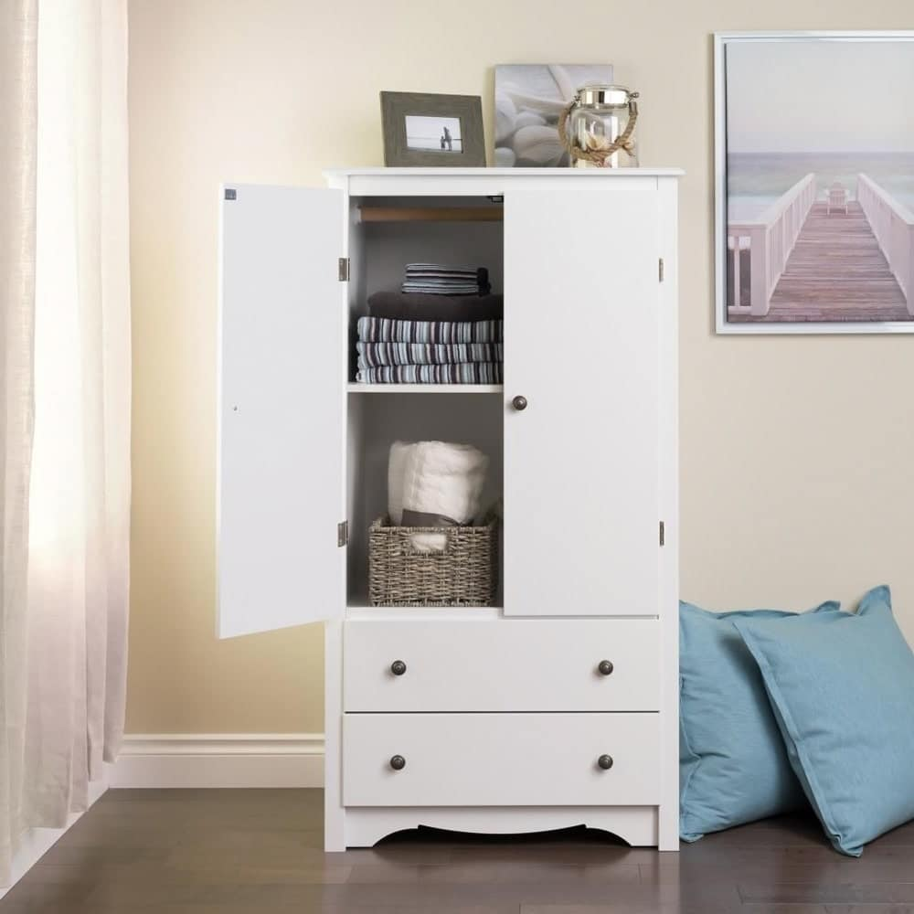 White Two-Drawer Armoire