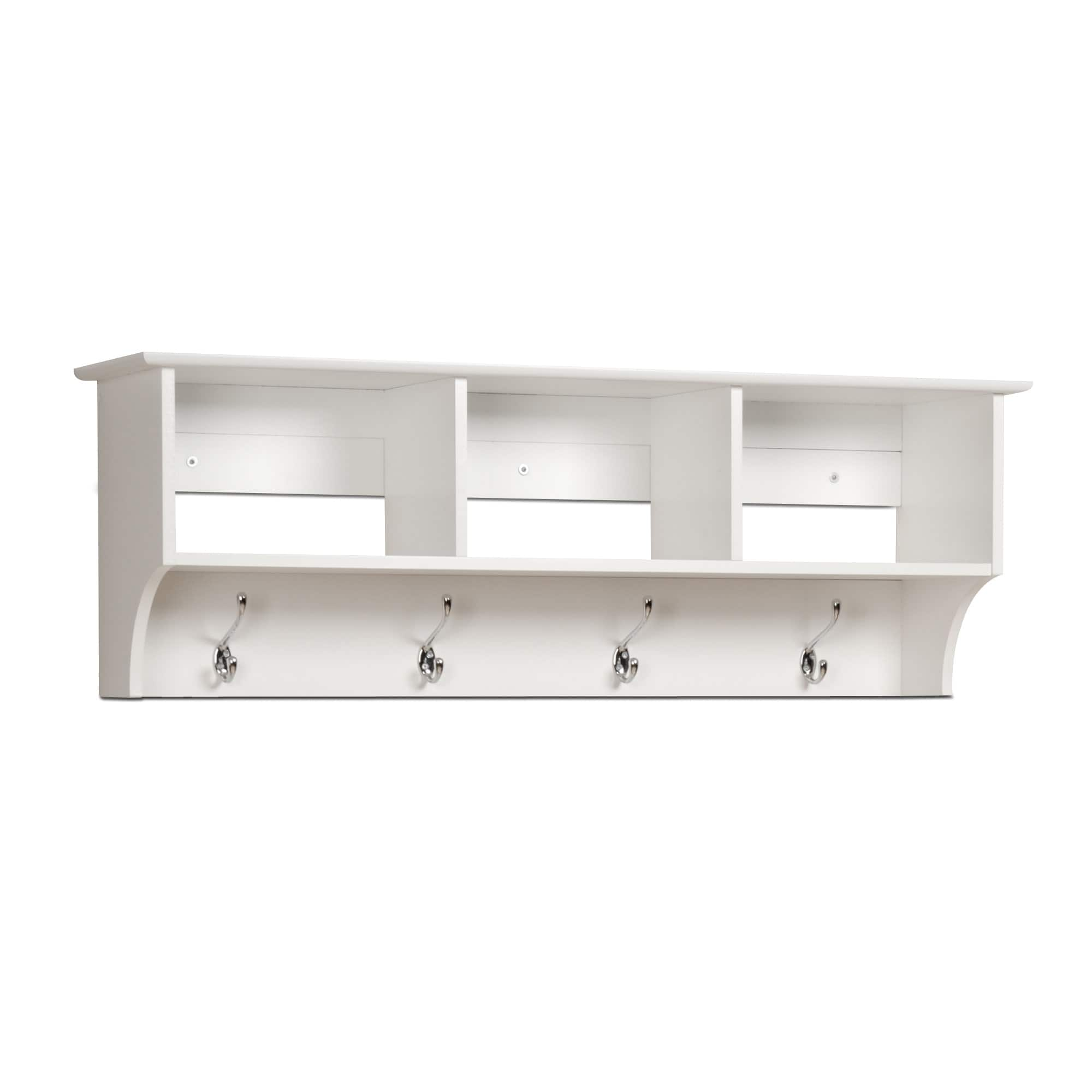 White Hanging Entryway Shelf