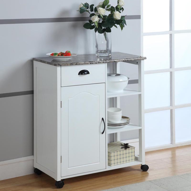Wood/Marble White Kitchen Cart