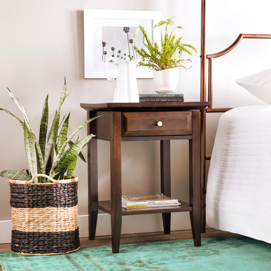 Wood One-drawer Nightstand