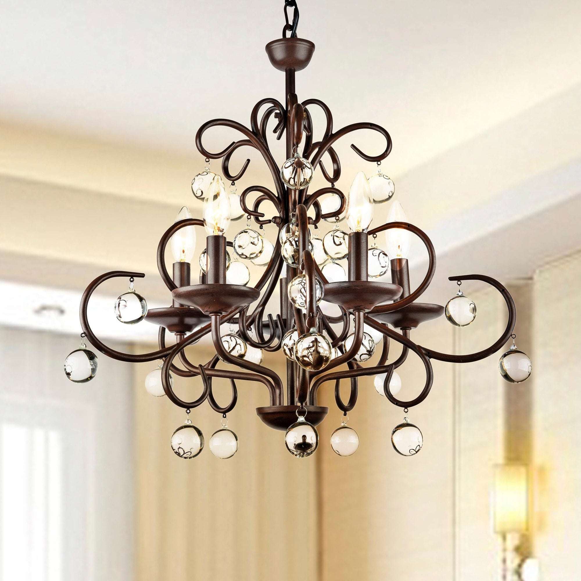 Wrought Iron and Crystal Five-Light Chandelier