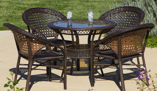 5-piece Outdoor Wicker Dining Bistro Table Set