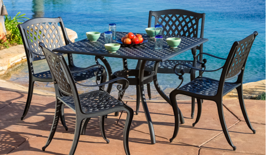 5 Piece Outdoor Cast Aluminum Dining Set