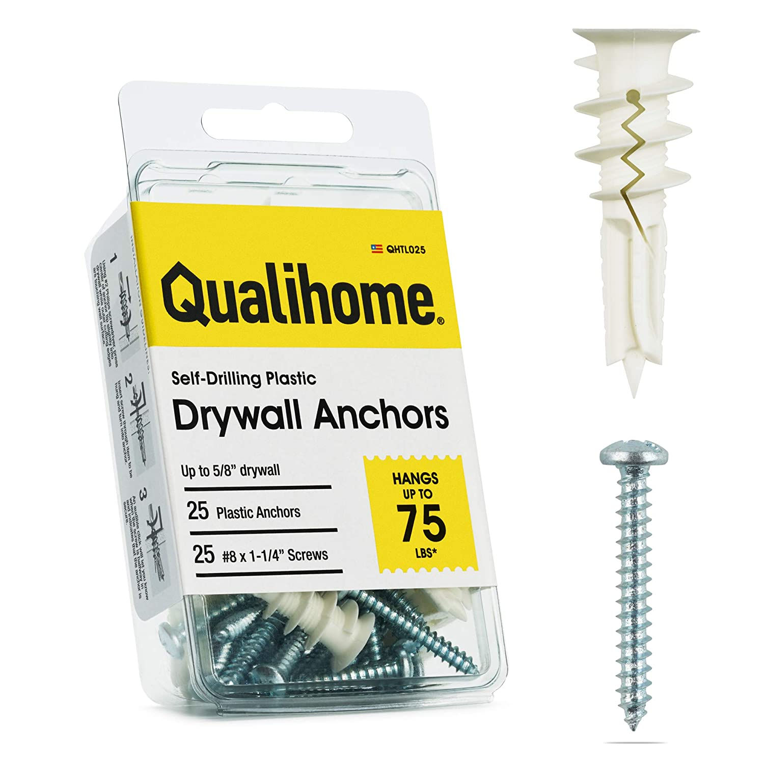 DryWall Anchor Screws (Product Only, No Installation)