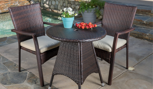 3-piece Outdoor Wicker Bistro Set