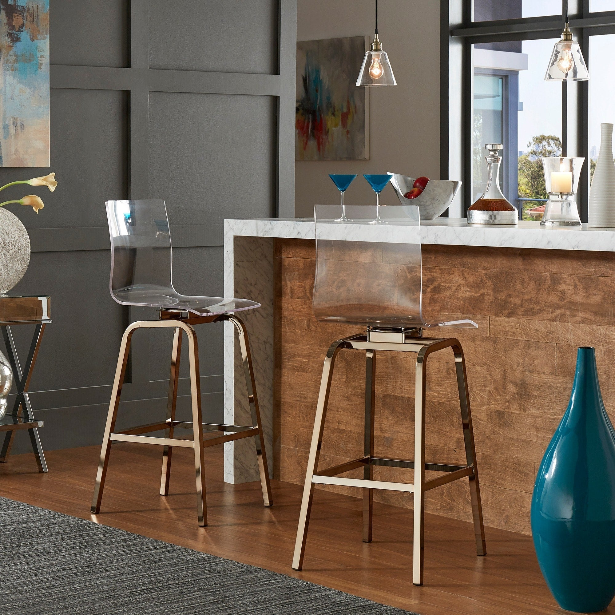 Clear Acrylic Swivel High Back Bar Stools with Back (Set of 2)