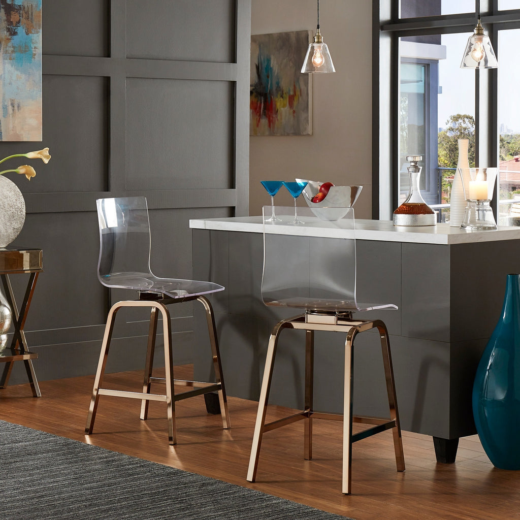 Picture of: Clear Acrylic Swivel High Back Bar Stools With Back Set Of 2 Handy
