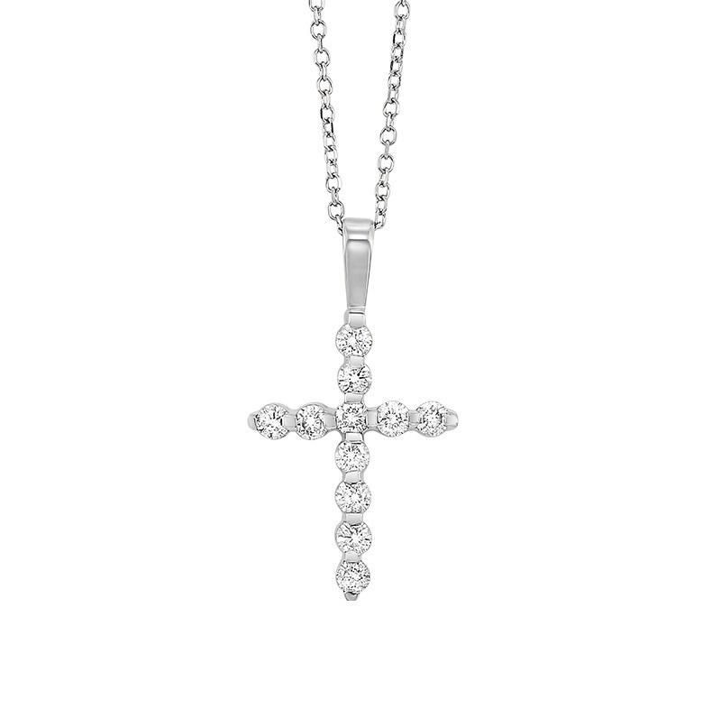 14kw cross bar set diamond necklace 1ct, fr1035-1w