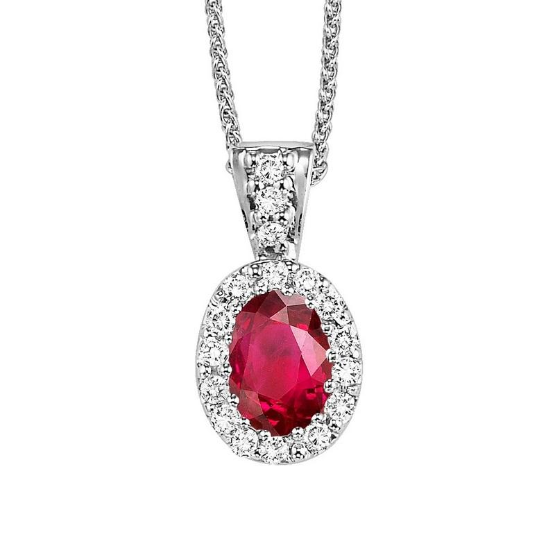 14kw color ens halo prong ruby pendant 1/10ct, rg70628-4wc