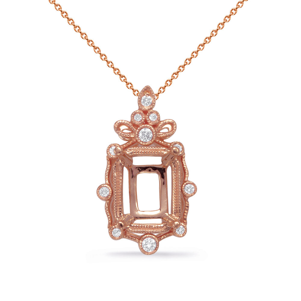 Rose Gold Diamond Pendant 5x3 EC Center