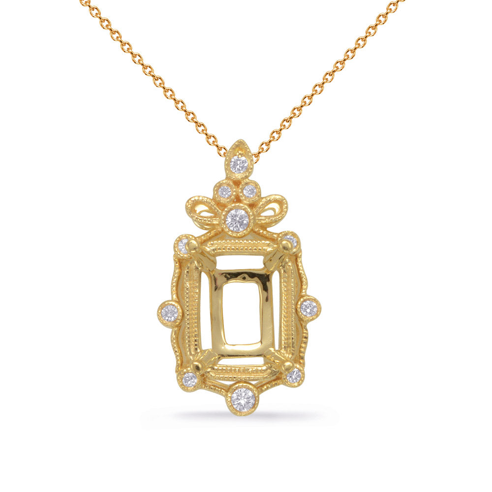 Yellow Gold Diamond Pendant 6x4EC Center